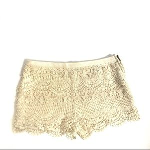 White Crotchet Shorts - Pins and Needles